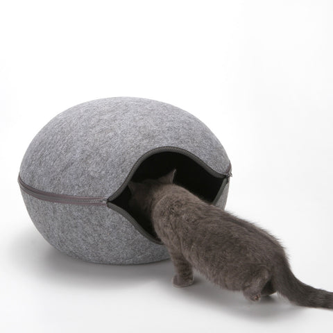 Egg Shape Dog Cat Bed Cat Sleeping Bag Zipper Felt Cloth Winter Warm Pet House
