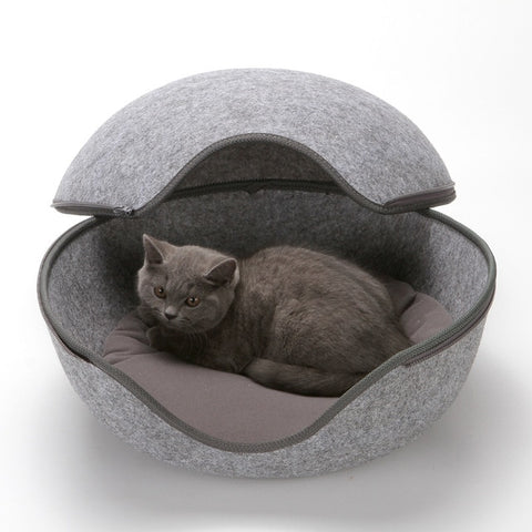 Image of Egg Shape Dog Cat Bed Cat Sleeping Bag Zipper Felt Cloth Winter Warm Pet House