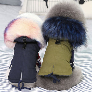 Luxury Faux Fur Collar Dog Coat Warm Windproof Pet Parka Fleece Lined Jacket