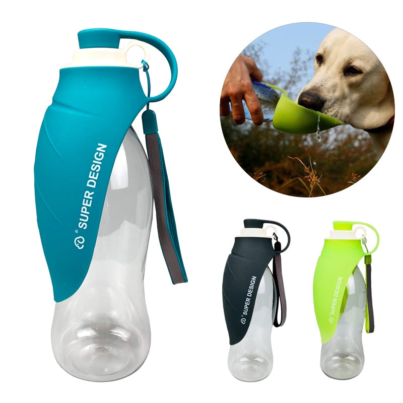 580ml Portable Pet Dog Water Bottle Soft Silicone Leaf Design Travel Dog Bowl