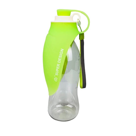 Image of 580ml Portable Pet Dog Water Bottle Soft Silicone Leaf Design Travel Dog Bowl