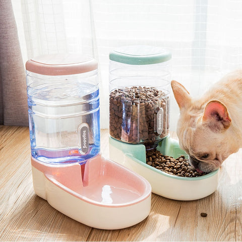 Image of 3.8L Dog Automatic feeders plastic water bottle for cat bowl feeding and drinking dog water dispenser for cats feeding bowls