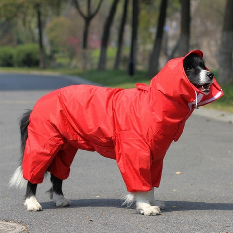 Image of Large Dog Raincoat Clothes Waterproof Rain Jumpsuit