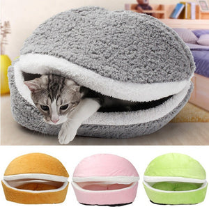 Removable Cat Sleeping Bag Sofas Mat Hamburger Dog House Short Plush Small Pet Bed