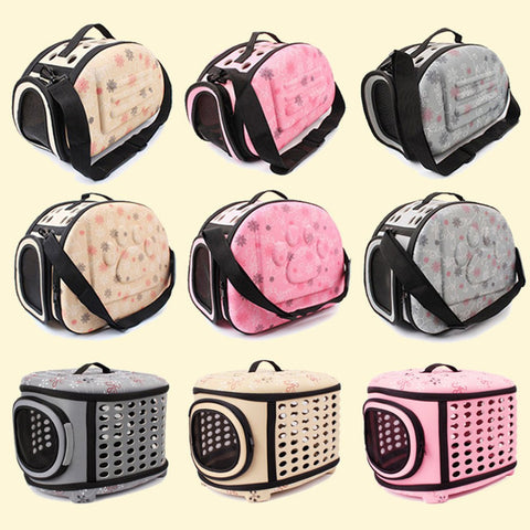 Image of Pet Carrier For Dogs Cat Folding Cage Collapsible Crate Handbag Plastic Carrying Bags