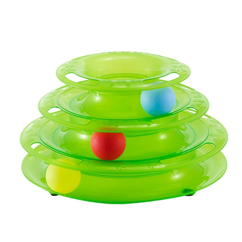 Image of Cat Toy Ball Pet Toy Cat Toys Intelligence Triple Play Disc Three Tower Of Tracks Turntable Ball Pet Products