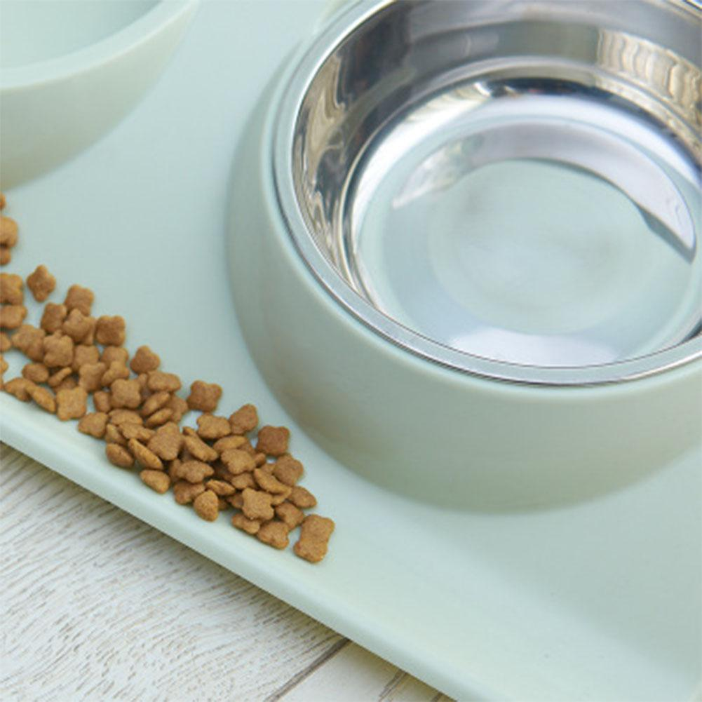 Stainless Steel Double Pet Bowls Food Water Feeder
