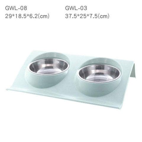 Image of Stainless Steel Double Pet Bowls Food Water Feeder
