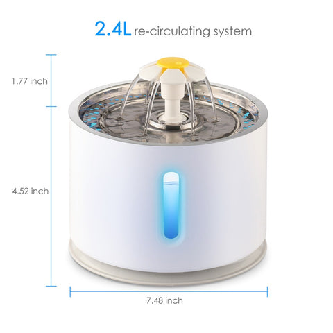 2.4L Automatic Cat Water Fountain Water level Window LED Electric Mute Water Feeder