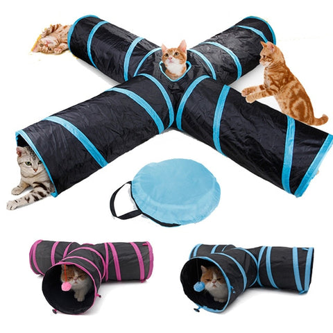 Image of Dropshipping Pet Cat Tunnel Toys for Cat Kitten 4 Holes Collapsible Crinkle Cat Playing Tunnel Toy
