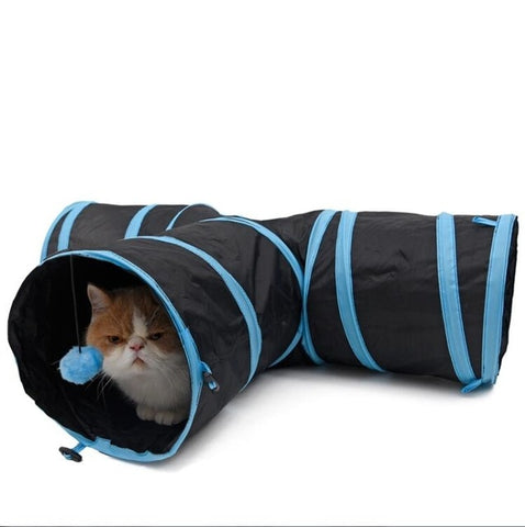 Dropshipping Pet Cat Tunnel Toys for Cat Kitten 4 Holes Collapsible Crinkle Cat Playing Tunnel Toy