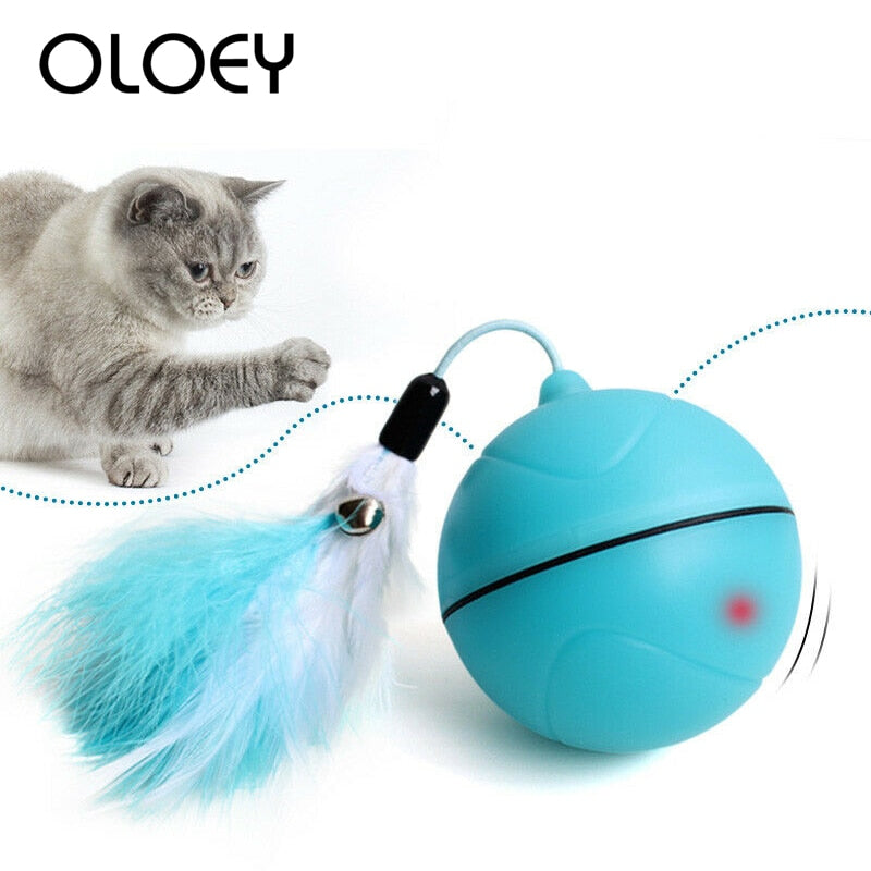 USB Rechargeable Electric Rolling Ball Toys for Cats Interactive Laser Magic Ball Toy
