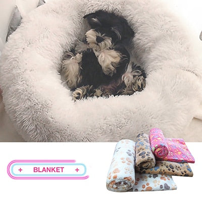 Image of Kennel Dog Round Cat Winter Warm Sleeping Bag Long Plush Super Soft Pet Bed