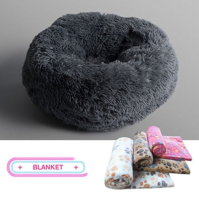Kennel Dog Round Cat Winter Warm Sleeping Bag Long Plush Super Soft Pet Bed