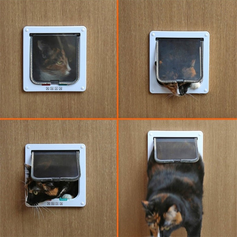 Pet Door 4 Way Lockable Dog Cat Kitten Door Security Flap Door ABS Plastic