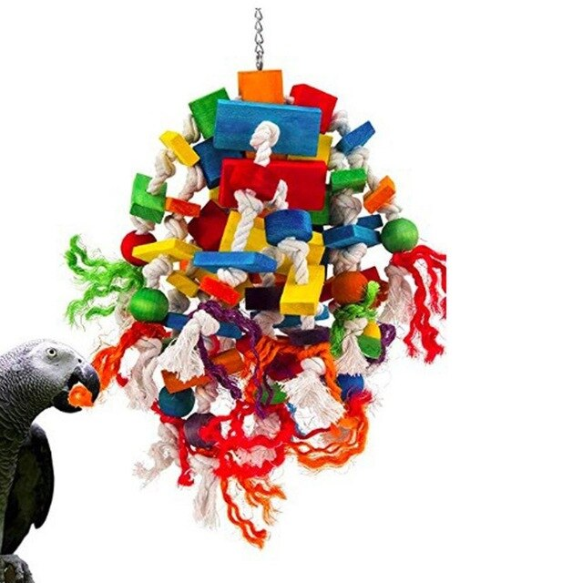 Pet Molar Pastime Toy Wooden Parrot Favorite Colorful Safe and Tasteless Parrot Bite Bird Toy