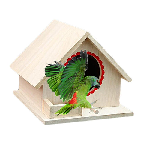 Image of Wooden Birdhouse Small Outdoor Garden Parrot Bird Nest Wooden Bird House Bird Cage