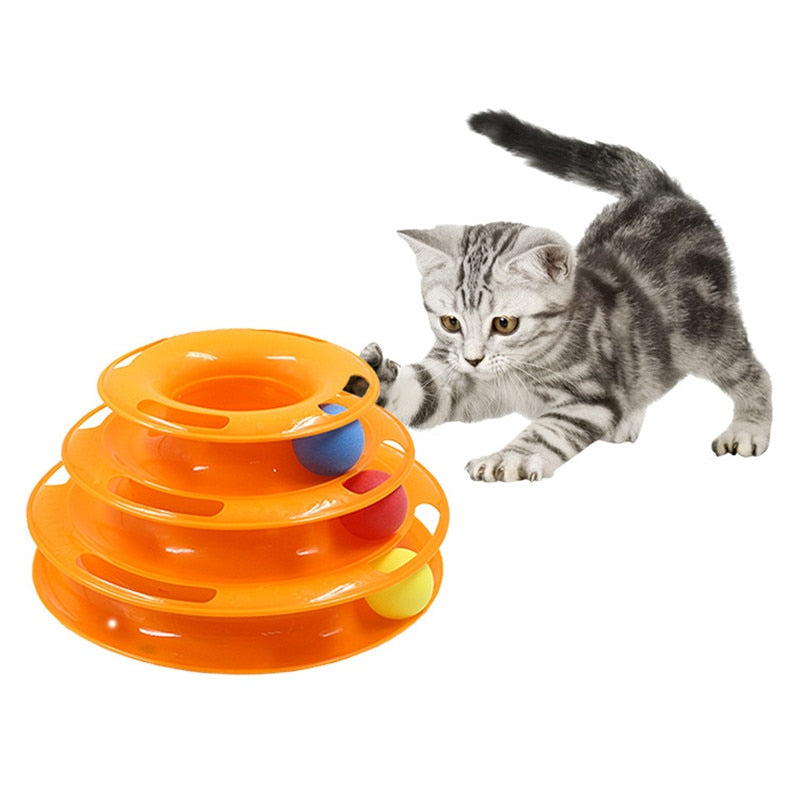 Three Levels pet cat toy Tower Tracks Disc cat Intelligence Amusement triple pay disc