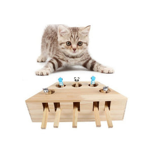 Cat Hunt Toy Chase Mouse Solid Wooden Interactive Maze Pet Hit Hamster