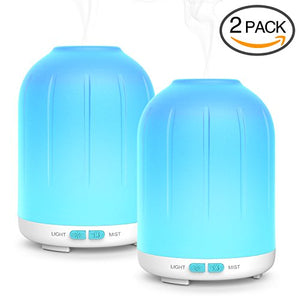 Aromatherapy Essential Oil Diffuser,120ml Aroma Diffuser Portable Ultrasonic Cool Mist Humidifier with 7 LED Colors