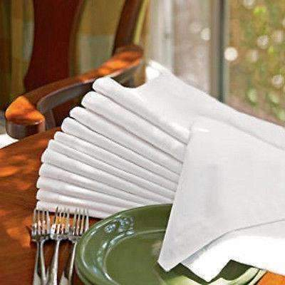 1 Dozen New White Cotton Dinner Napkins 21X21 Wedding Size