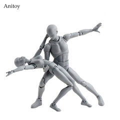 BODY KUN / BODY CHAN Grey Color Ver. Black PVC Action Figure Collectible Model Toy