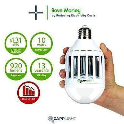 Genuine ZAPPLIGHT Light Zapper Dual LED Lightbulb and Bug MOSQUITO