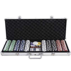 Goplus 500 Chips Poker Dice Chip Set Texas Hold'em Cards w/ Aluminum Case New