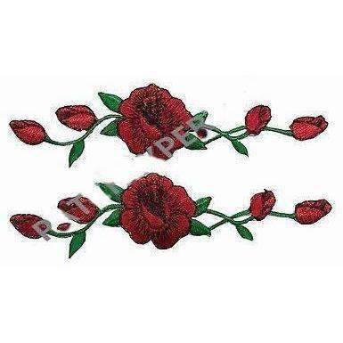 Lot 2 Pcs Red Rose red rose Flower Embroidery Applique Patch #3965R