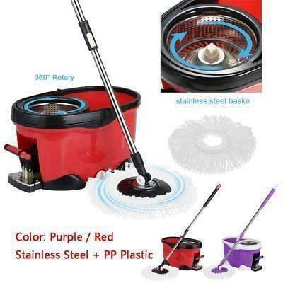 Stainless Steel 360°Spin Mop & Bucket Set Foot Pedal Rotating Magic Floor Mop LS