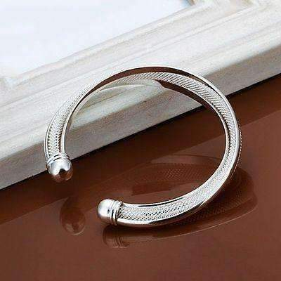 US 925 Sterling Silver Cuff Bracelet Bangle Chain Wristband Women Jewelry