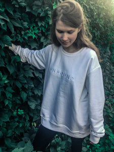 Oversized Washed White Crewneck Jumper With Unsound Embroidery
