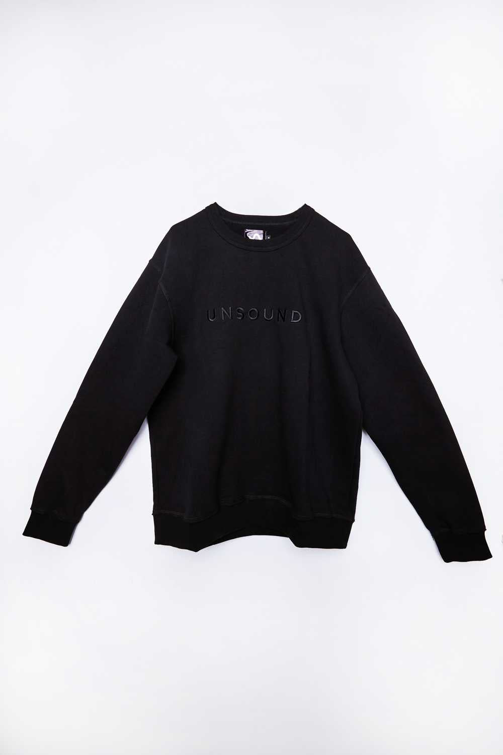 Oversized Washed Black Crewneck Jumper with Unsound embroidery