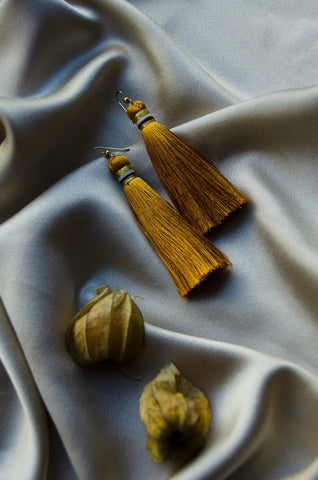 AIDA silk earrings Ochre