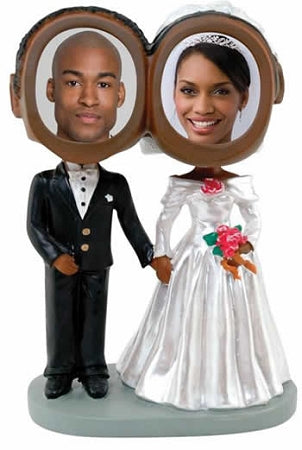 Wedding Couple Photo Bobble head (Dark Skin)