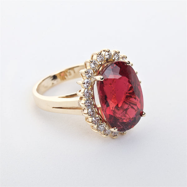 The Margret - GIA Certified 18K  Rubellite Tourmaline and Diamond Ring