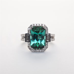 The Ariel -  GIA Certified 18K Tourmaline and Diamond Ring