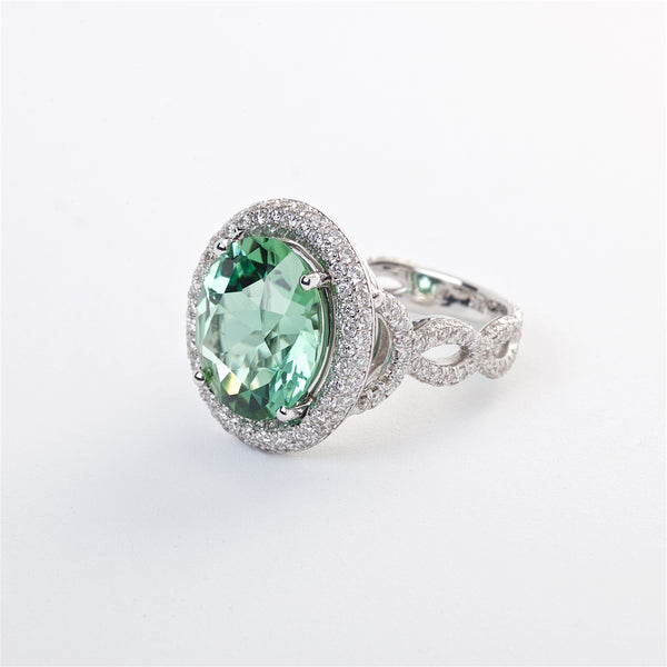 The Cristina - GIA Certified Tourmaline and Diamond Ring