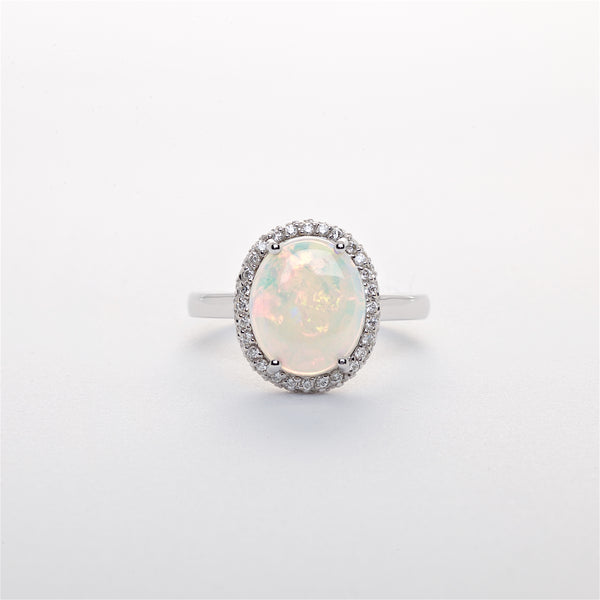 The Natalia - Australian Opal and Diamond Ring