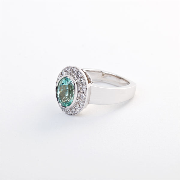 The Ariana - Gia Certified Green Tourmaline and Diamond Ring