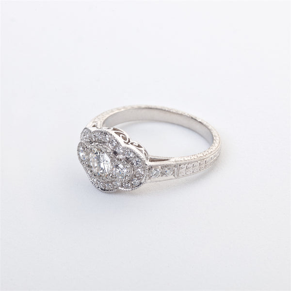 The Lilwen - Platinum Diamond Edwardian Inspired Three Stone Ring