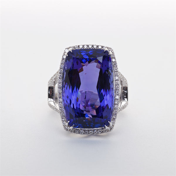 The Victoria - AAA Natural 18K Tanzanite and Diamond Ring