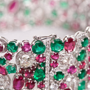 The Anne - 18K White Gold Ruby, Emerald, and Diamond Bracelet