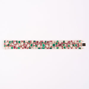 The Savannah - 18K Emerald, Ruby, and Diamond Bracelet