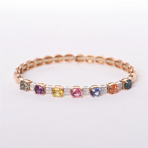 The Eleanor - 18K Rose Gold Multicolored Sapphire and Diamond Bangle
