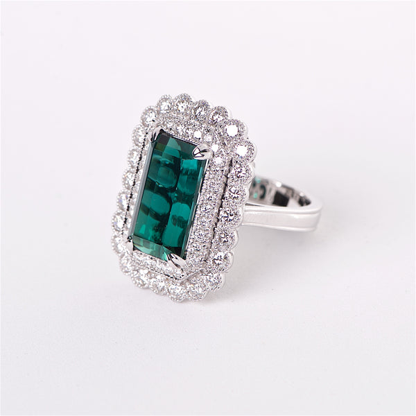 The Ivy - GIA Certified Green Tourmaline and Diamond Ring