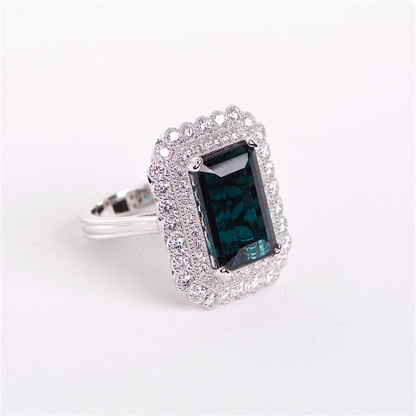 The Clementine - 18K Blue-Green Tourmaline And Diamond Ring