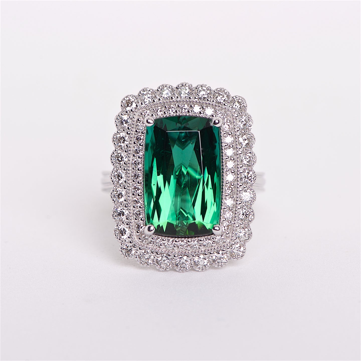The Lotus - 18K AAA Green Tourmaline and Diamond Ring