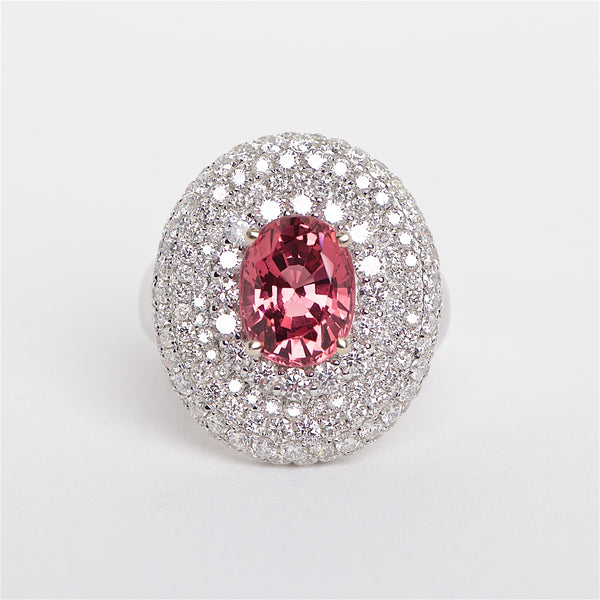 The Valentina - GIA Certified Red Spinel and Diamond Ring