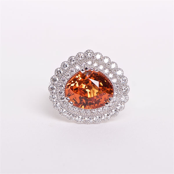 The Helena - GIA Certified Spessartite Garnet And Diamond Ring